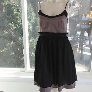 BCBG❤Satin & Sheer Flare Dress